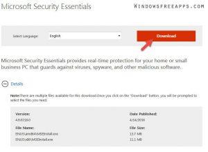 Download Microsoft Security Essentials latest version