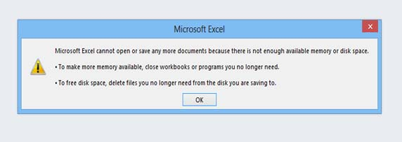 Fix Microsoft Excel Cannot Open Or Save Any More Documents Because There Is Not Enough Available Memory Or Disk Space