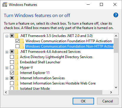 Turn on the Microsoft .net Framework