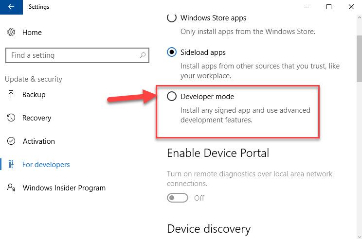 Enable App Side-loading