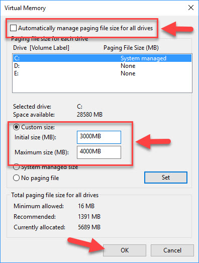 Fix: Your Computer Is Low On Memory Error In Windows 10 - 3