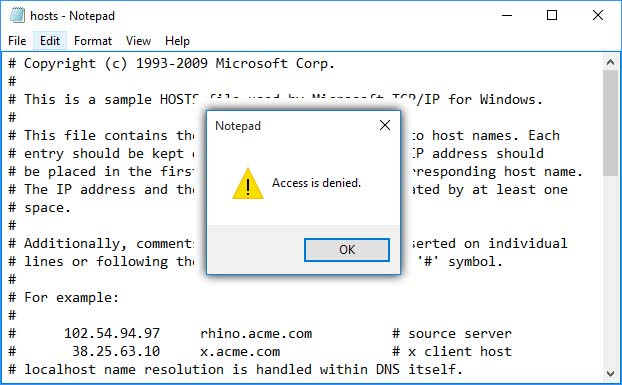 Notepad Access is denied