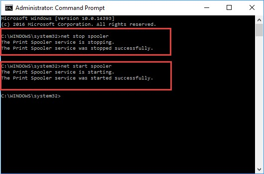 restart the printer Spooler using the Command Prompt