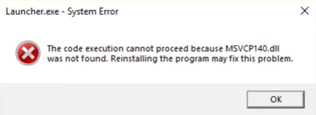 The code execution cannot proceed because MSVCP140.dll was not found