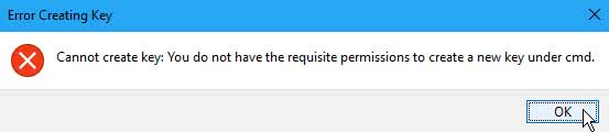 Cannot create key error writing to the registry