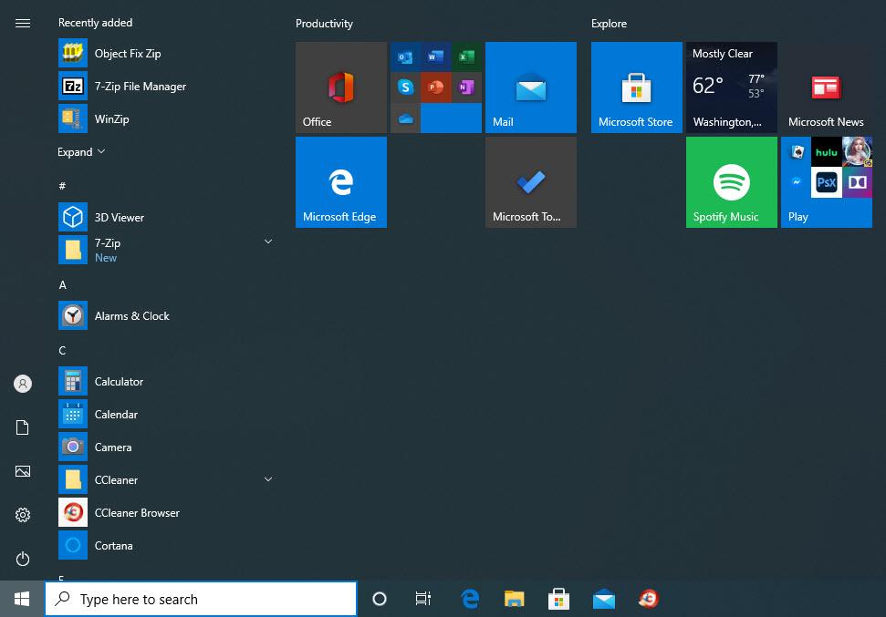 Expandable Start menu