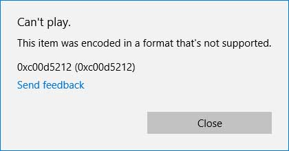 This item is was encoded in a format that's not supported. 0Xc00d5212